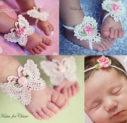online shopping 2016 New Fashion Baby Shoes Flowers Butterfly Heart Hollow Sandal Headband Set Girls Foot Flower Bow Headbands Feet Ring Accessory D6442