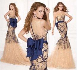 Wholesale Tarik Ediz Evening Gowns Sheer Round Neck Royal Blue Bows Mermaid Sweep Train Tulle Arabic Celebrity Prom Pageant Dresses SSJ
