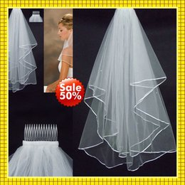 Wholesale 2015 T Two Layer Ivory Tulle Wedding Bridal Pearl Satin Ribbon Edge Comb Veils Cheap In Stock Fingertip Dresses Accessories