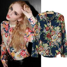 Wholesale XXL Plus Size Clothing New Fashion Spring European Vintage Floral Print Long Sleeve Shirt Women Tops Women Blouses