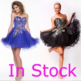 Wholesale In Stock Sexy Sweetheart Short Party Prom Graduation Dresses Peacock Emboridery Royal Blue Black Cocktail Homecoming Gowns Real Image