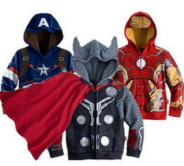 Wholesale 2015 new T Boy s Thor Casual Jacket Coat Baby Boy s The avengers Cosplay Coat Kids Iron man thor hulk Casual jackets baby hoodies