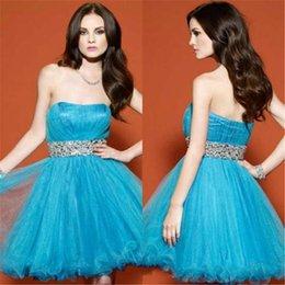 Wholesale Popular Strapless Graduation Dresses Sleeveless Short Corset Blue Homecoming Dresses With Rhinestone Waistband Prom Dresses