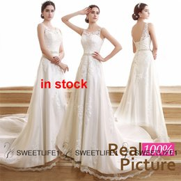 Wholesale IN STOCK Lace Wedding Gowns Backless Sheer Neck A Line Wedding Dress Applique Beads Chapel Train Elegant Church Bridal Gowns Real Image