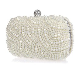 Wholesale Sparkly Shining Lastest Crystal Peals Bridal Hand Bags with Chain Women Wedding Evening Prom Party Bags Bridesmaid Bags