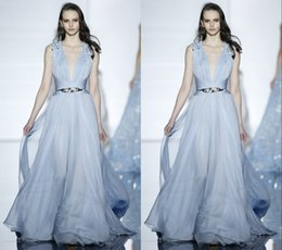 Wholesale Zuhair Murad Spring Couture Light Blue Evening Dresses V Neck Sleeveless Sequin Formal Evening Gowns Personalized Custom Plus SizeFY249