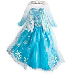 Wholesale custom made movie cosplay costume princess elsa Frozen Dress Princess Elsa Dresses With Lace Snowflake queen elsa costume dress BXDR