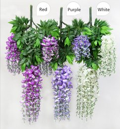 Wholesale 2015 New Cheap Artificial flower Simulation Wisteria Red Purple White Three Colors Long and Short Artificial flower JF001