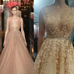 Wholesale Elie Saab Dresses Evening Wear Sexy Tulle Backless Evening Gown Beaded Tiered Peplum Pearls Quinceanera Dresses
