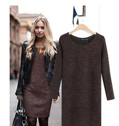 Wholesale New hot fall winter Women knitted long sleeve bodycon mini dress casual loose woolen sweater dress Autumn Spring Winter Dress OXL15091405