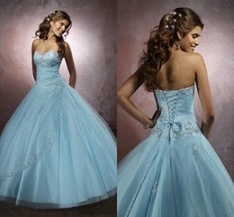 Wholesale 2015 Stunning Beautiful Baby Blue Quinceanera Dresses Dress Years Of Debutante Sweetheart Beading Lace Ball Gown