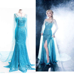 Wholesale Frozen Dresses Adult Girls Princess Elsa Cosplay Dresses Lace Long Sleeve with Bling Accessories Long Gauze Blue Christmas Theme Costume