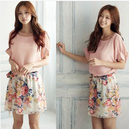 Wholesale New Women s Summer Chiffon Dresses Patchwork Crewneck Short Sleeve Dress Floral Casual Clothing For Women