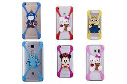 Wholesale Universal Soft Silicone Cute Captain America Minion Mickey Stitch Bumper Frame Case For iphone S Samsung S6 HTC LG Sony Nokia Doll Cartoon