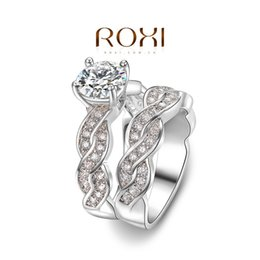 wholesale 2pcs pair roxi exquisite gold white plated wedding ringplatinum plated with aaa zirconfashion ringscouple rings - Wedding Rings On Sale