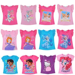 Wholesale New Chiffon Cute Cartoon Clothing girls short sleeve t shirt top tees cartoon cotton t shirts