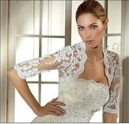 Wholesale Bridal Jackets with Half Sleeves Wedding Wraps with Appliques Cheap Bridal Accessories Sexy Wedding Boleros with Sleeves