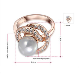 Wholesale Fashion Jewelry K Rose Gold and White Gold Plated Pearl Ring Luxury precious Women Genuine Austrian Crystals Diamond Wedding dress rings