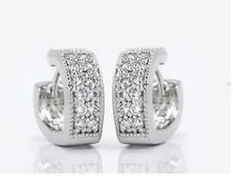 Wholesale Earings Heart Women Silver Crystal Earrings Stud Earring Simulated Diamond Jewelry hristmas JS1689