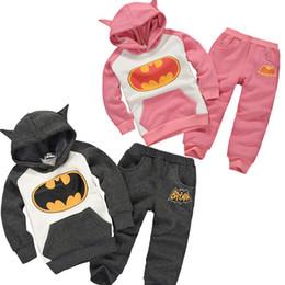 Wholesale 2 colors Children s autumn clothing sets batman set kids boys clothing set children hoodies pants