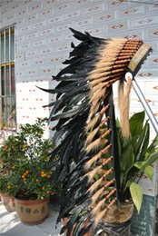 wholesale free shipping 36inch black indian feather headdress native american warbonnet handmade costume decor discount native american decor - Native American Decor