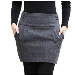 Wholesale 2015 Autumn And Winter Skirt Women Fashion Brand Design Plus Size Wool Slim Hip Bud Pocket With Zipper Short Mini Woolen Skirts