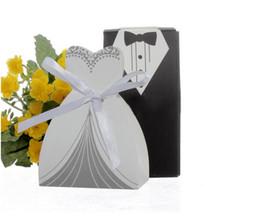 Venta caliente de la novia y la caja del caramelo de la boda del novio del favor de las cajas de regalo caja de Partido Blanco Y Negro nave libre