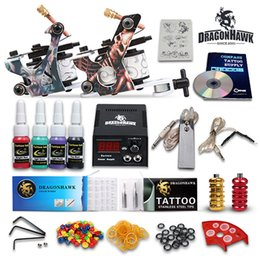 Wholesale Professional complete tattoo kits machines guns color inks sets needles grips tubes power D53GD