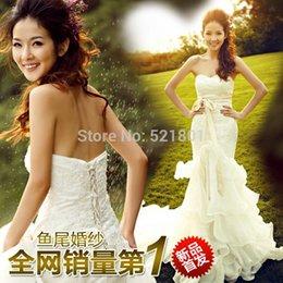 Wholesale sexy mermaid wedding dress wedding gowns boho wedding dress fish tail vestido de noiva wedding dresses bridal gown lace