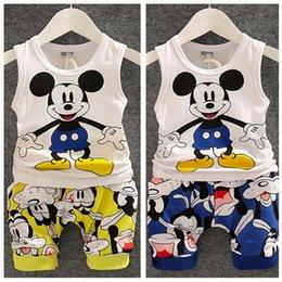 Wholesale 2015 New Summer Baby Boy Clothing Set Sleeveless Shirt Shorts Kid Boy Summer Set Mickey Children Boy Clothes Set Vest TZX139