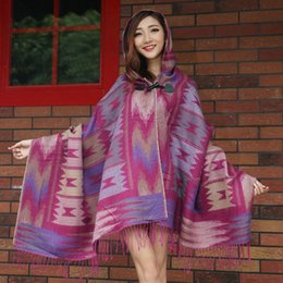 Wholesale Lady Women thick Hooded Cape Bohemian Style Women s Shawls Scarves Geometry Kimono cape Spring Winter warmer classic Fashion Hot sell