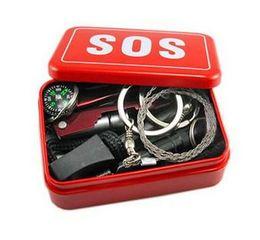 Wholesale Outdoor boîte Kit de survie sur le terrain de sac d auto assistance d urgence de l équipement d urgence SOS Portable équipements pour le camping randonnée Retail Packaging