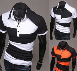 Wholesale Retail summer men Lapel collar short sleeved knit stitching t shirt men tops tees fashion cheap tshirts