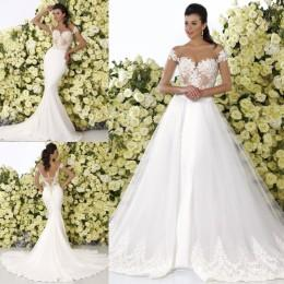 2016 half sleeves wedding dresses with detachable train crystal design bridal new arrival 1 2 sleeve beach mermaid wedding gowns