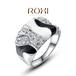 fg roxi brand white and black retro trendy rings forever love ring for womens wedding party engagement cz rings 2010248410 womens black wedding ring sets on - Womens Black Wedding Ring Sets
