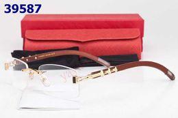 Wholesale name brand glasses frames fashion rimless eyeglass frame wood leg good lenses mixed order dropship
