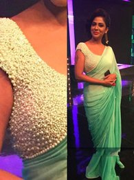Wholesale New Green Chiffon Mermaid Arabic Evening Dress V Neck Full Pearls Beaded Dubai Kaftan Abaya Celebrity Dress Prom Gowns Floor Length