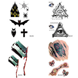 Wholesale 2015 Halloween Makeup Terror Scary Zombie Bats Spider Webs Eyes Blade Fancy a Wound Waterproof Tattoo Stickers Temporary Tattoos Body Sticke