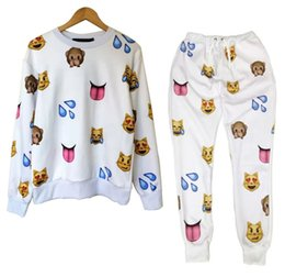 Wholesale Harajuku new D tracksuits print cartoon emoji jogging suits sweat shirts pants piece set for men women sportwear