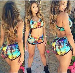 2017 bikini women Hot New Sexy Women Bandage Swimsuit Bikini Sunset Coconut Palm 3D Digital Print Tank Bra & Shorts Swimwear Bathing Suit Tankini KF898 10pcs cheap bikini women