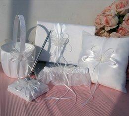 Wholesale New Arrivals Ivory Double Heart Diamante Wedding Guest Book Pen Ring Pillow Flower Basket Garter Set