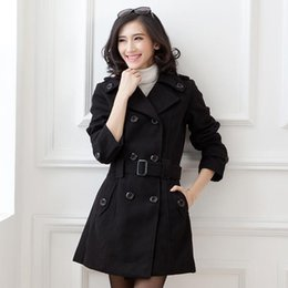 Wholesale Drop Shipping Women Wool Blends Coats Slim Long Style Trench Coat Plus Size L XL Breasted Design Woman Autumn Winter Clothing YP01015