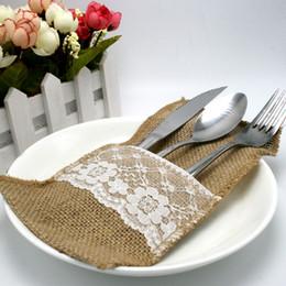 Wholesale 100Pieces Vintage quot x8 quot Hessian Burlap Lace Wedding Tableware Pouch Cutlery Holder Decorations Favor MCD