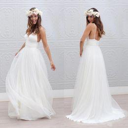 Wholesale Romantic Bohemian Wedding Dresses Sexy Spaghetti Straps A Line Backless Long Beach Wedding Dresses White Chiffon Boho Wedding Dress