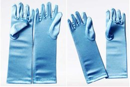 Wholesale Costume princess kids gloves for girls frozen Elsa gloves long Blue Satin Gloves children long blue gloves