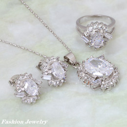Wholesale Promotion Fashion Jewelry sets Cubic Zirconia Pendants Ring Earring silver plated S035 party and dress jewelry