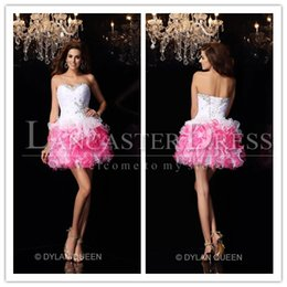 Wholesale 2015 short lovely homecoming dresses a line sweetheart beaded top graduation dress ruffles organza short prom dresses wedding party gowns