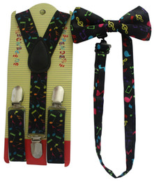 Wholesale New Fashion Girls Colorful Music Notes Print Suspender And Bow Ties Sets For Kids Boys