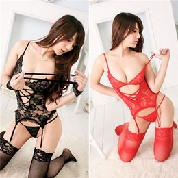 Wholesale 2014 New Women Sexy Lingerie Lace Hollow Out G String Garter Belt Perspective Erotic Lingerie Set Black Red