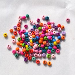 Wholesale DIY Jewelry Accessory Bracelet Component MM Round Shape Mix Color Wooden Beads Environmental protection paint